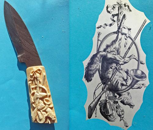 Messer mit Griff aus geschnitztem Knochen und Vorlage